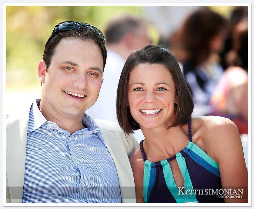 Guests at Sonoma Valley wedding at B R Cohn winery smiling for the camera