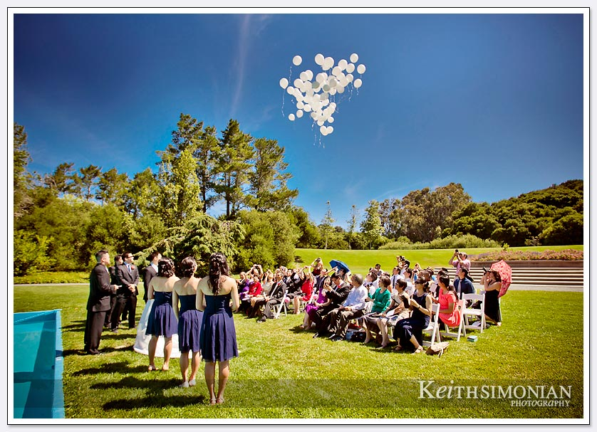 Bridal party and guests watch as white balloons are released into the blue at the end of wedding ceremony
