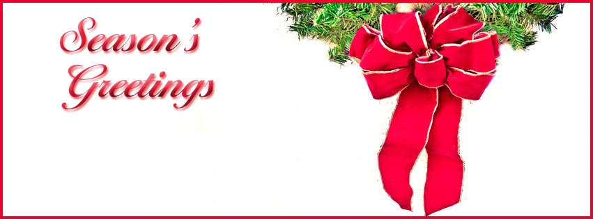 This holiday facebook cover image features a green wreath and red ribbon