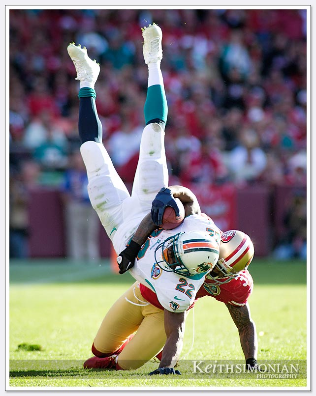 49er strong safety Donte Whitner slams down Dolphin running back Reggie Bush