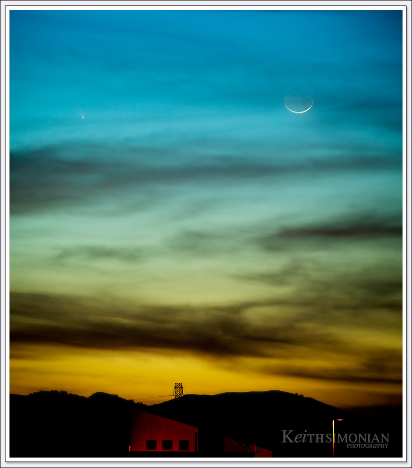 The comet PANSTARRS seen over the San Francisco Bay area along with the waxing crescent moon