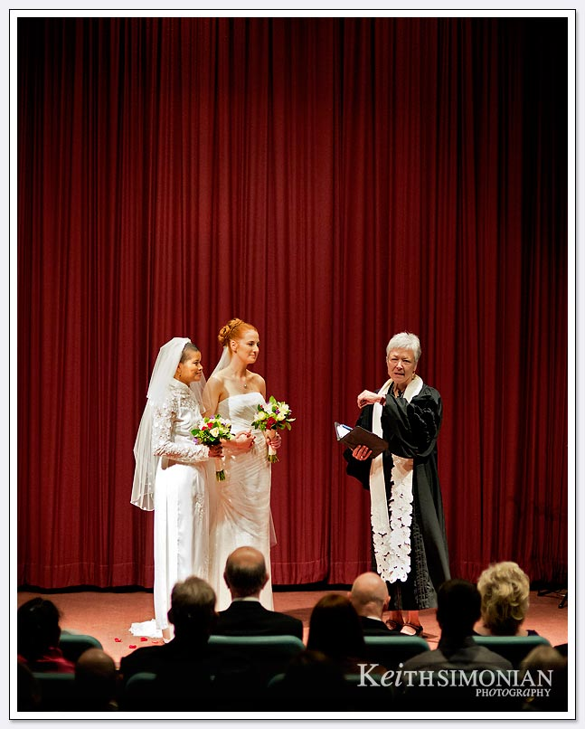 The brides exchanged vows in the screening room at the Delancey Street foundation in San Francisco