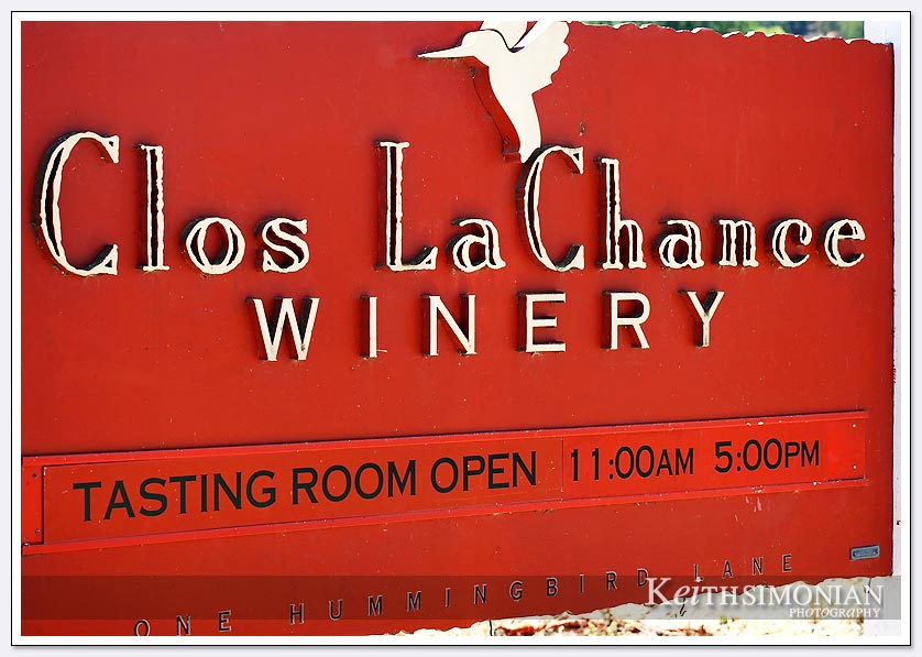 Clos La Chance red winery sign
