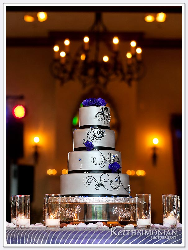The silver wedding cake accents the room at the Clos La Chance winery