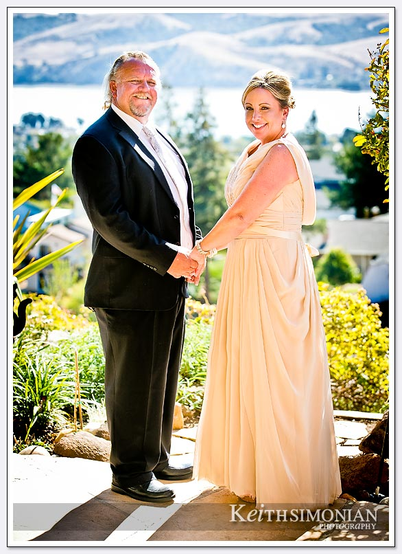 Bride and Groom portrait with backdrop of San Francisco Bay
