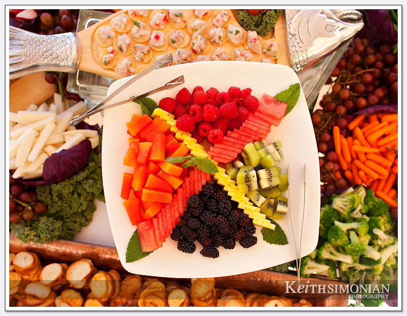 Just some of the colorful and tasty foods that await the wedding guests at Pema Osel Ling.