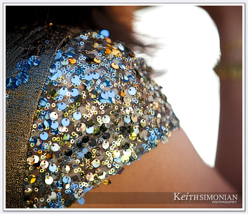 The colorful dress sparkles during the outdoor wedding reception at Pema Osel Ling.