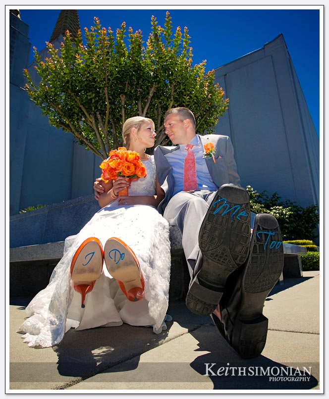 LDS-Wedding-Photography - the Bride's shoes say I do, and the groom's shoes say me to.
