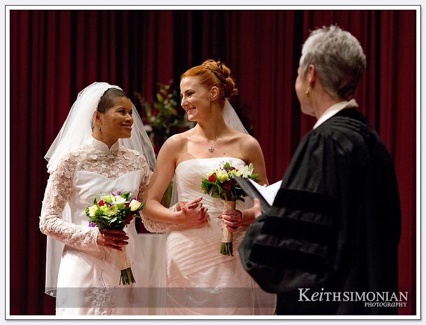 Couple exchanges vows in the screening room of the Delancey Street foundation in San Francisco