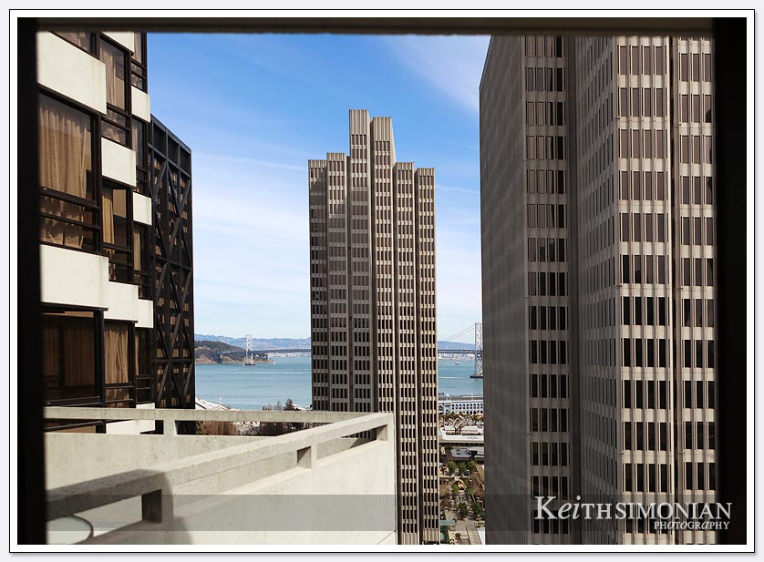 The San Francisco skyline and the Bay Bridge as viewed from the Le Meridien Hotel