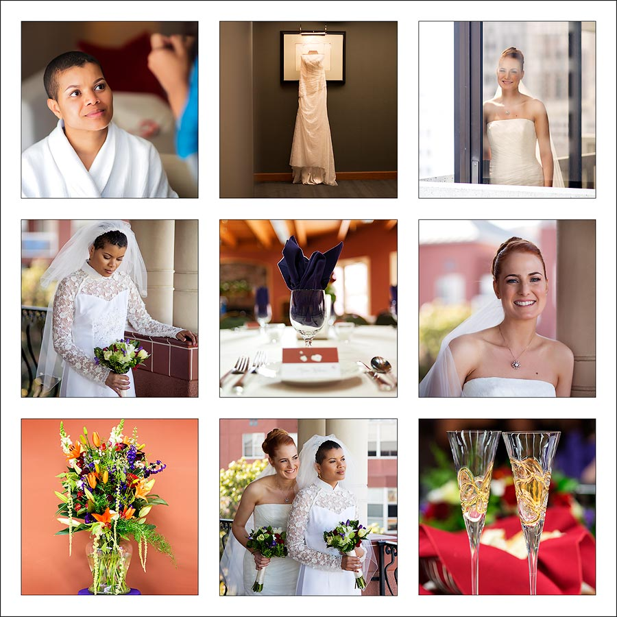 The square of nine photos include images of flowers, getting ready, bridal portraits, wedding dress, and  champagne glasses.