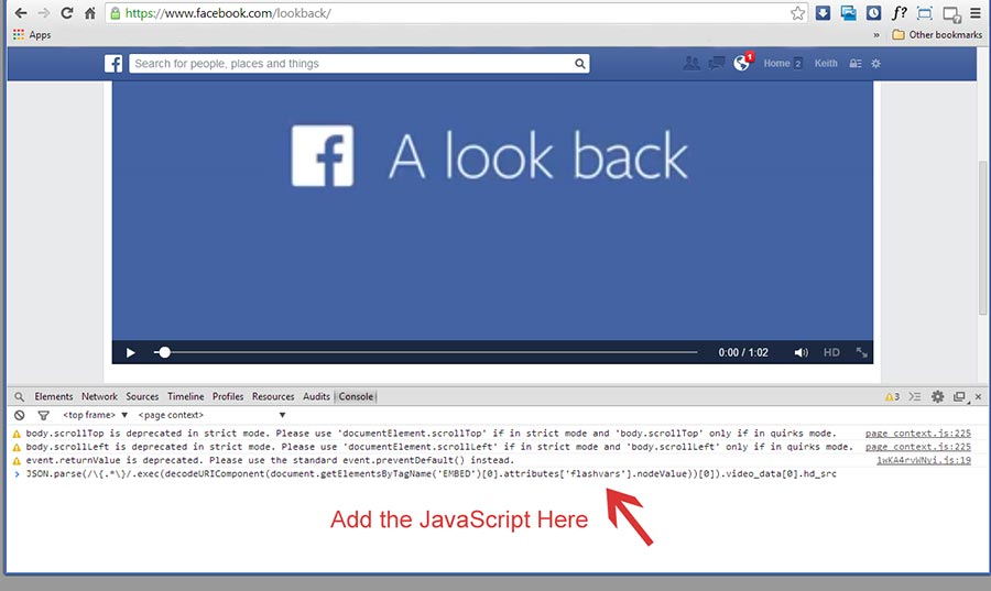 Add text to the Chrome JavaScript console to save Facebook look back movie