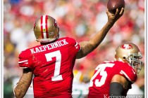 Colin Kaepernick 49er quarterback throws the ball down field against the Green Bay Packers on September 8, 2013 at Candlestick park