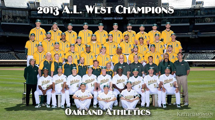 Oakland Athletics 2013 team photo by Keith Simonian Photography in the Oakland Coliseum