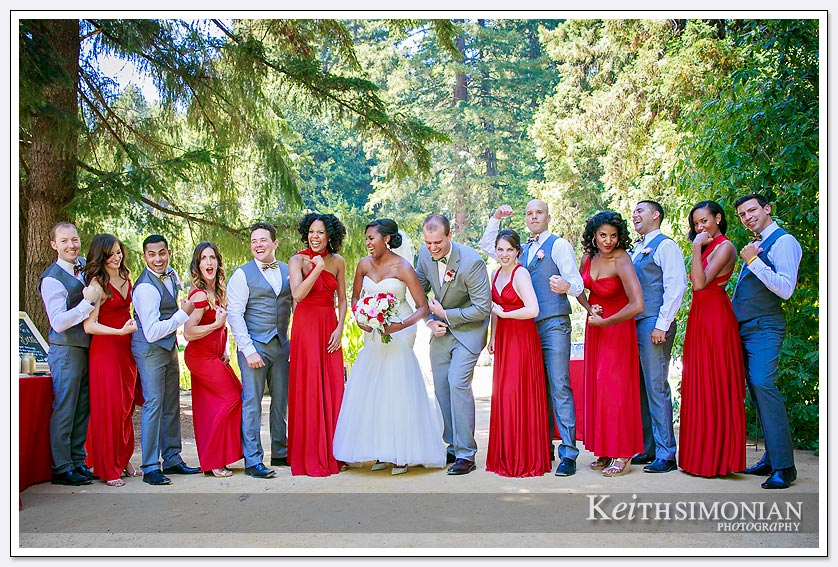 Members of the bridal party having fun - Hazlwood at the Summit - Los Gatos, CA