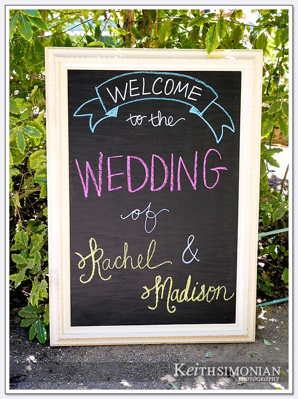 Chalk board sign greets guests - Hazlwood at the Summit, Los Gatos