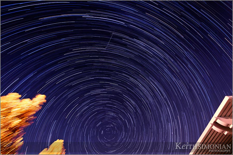 This image stack shows 168 photos compiled to make the Star Trails and which also captured the Perseid Meteor shower
