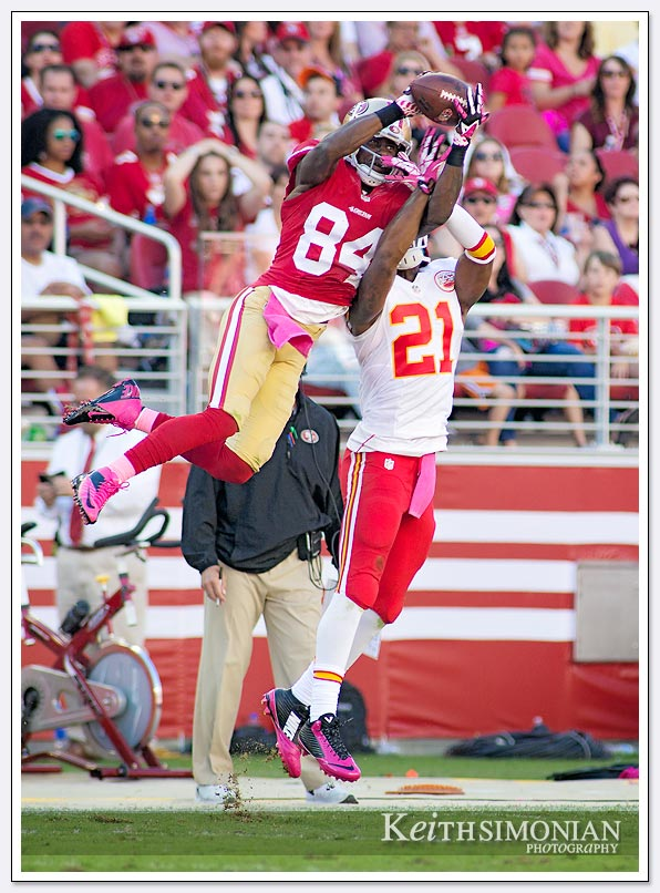 #84 Brandon Lloyd of the San Francisco 49ers makes a spectacular catch while covered by #21 Sean Smith of the Kansas City Chiefs in an October 5th, 2014 game at Levi Stadium in Santa Clara.