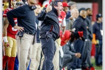 Defensive Line coach Jim Tomsula apprears to be yelling for a player to leave the field in this December 20th, 2014 game against the San Diego Charger at Levi's Stadium in Santa Clara, CA.