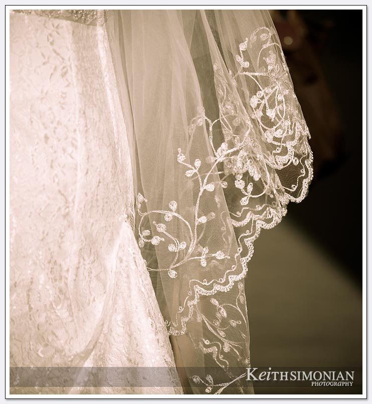 Black and white image of the bride's veil