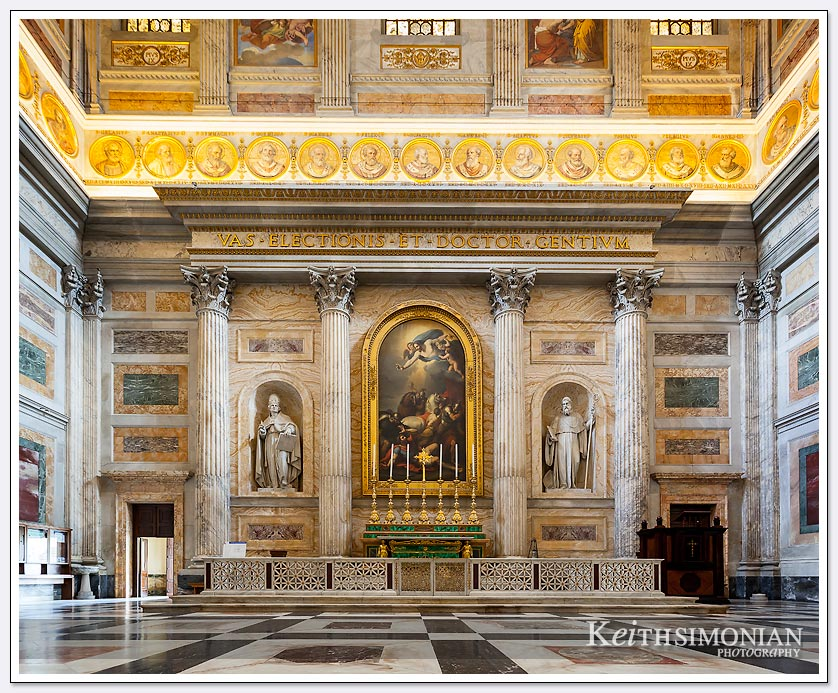 Interior of Basilica Saint Paul Outside the Walls - Rome italy