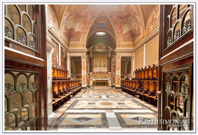 The room of chairs in Basilica Saint Paul Outside the Walls