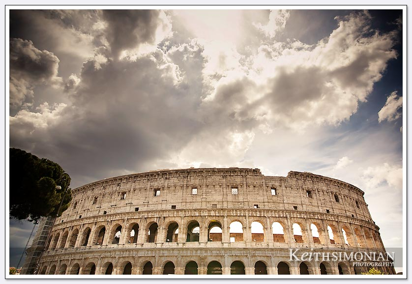 Storm clouds over the Colosseum