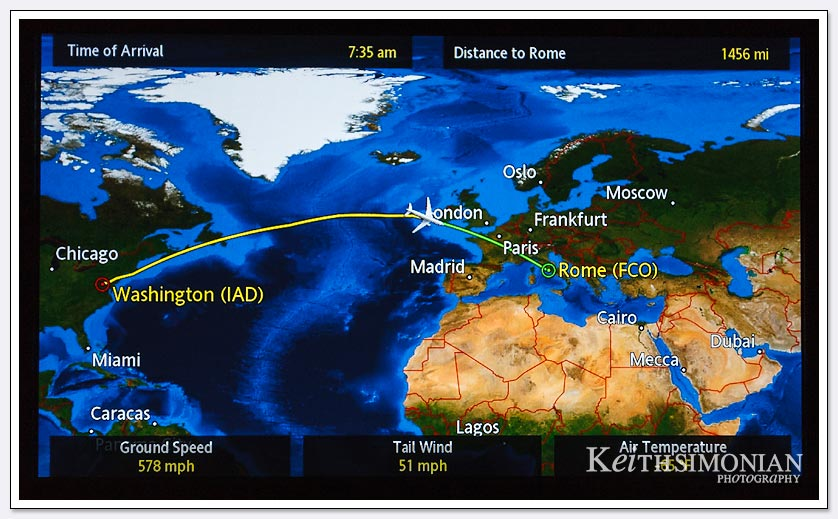 The screen shows the location of our flight from Dulles airport in Washington DC to Rome, Italy