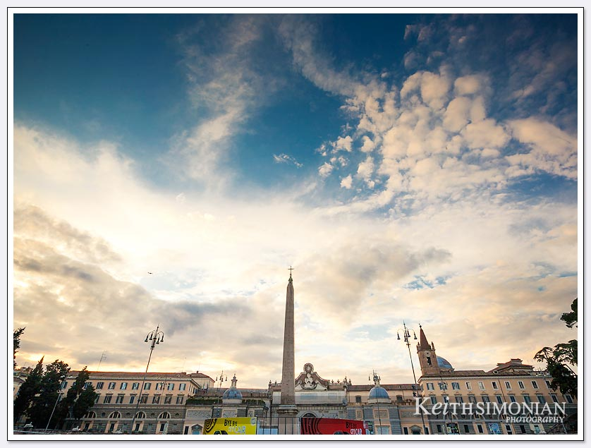 Cloud filled sunset at Piazza del Popolo in Rome Italy