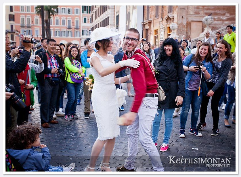 Bride on the Spanish steps in Rome Italy