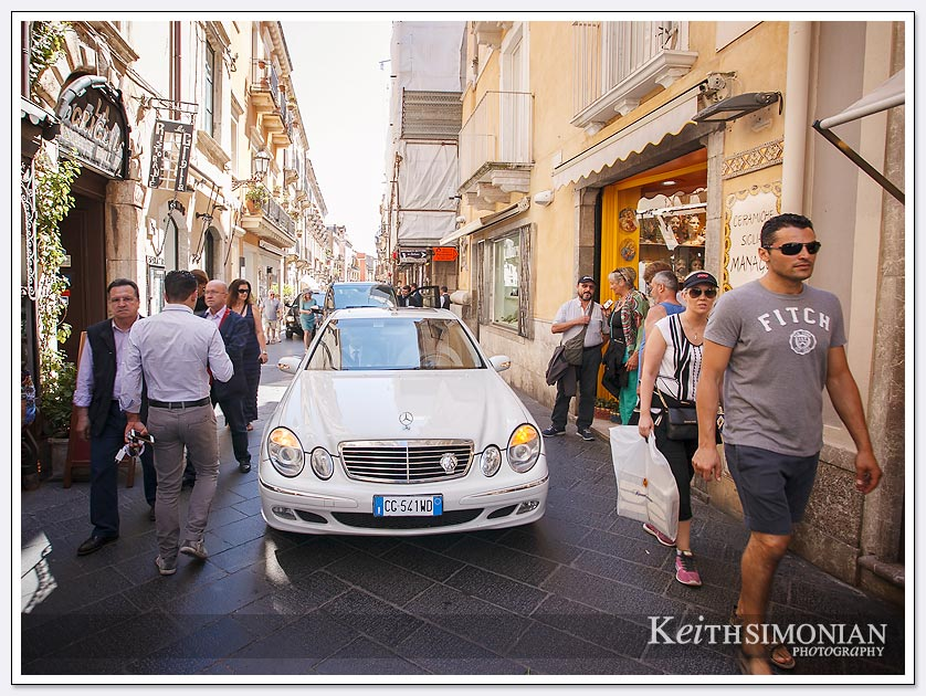 If there is a road you can drive on it in Taormina no matter how many tourists are walking on the road.