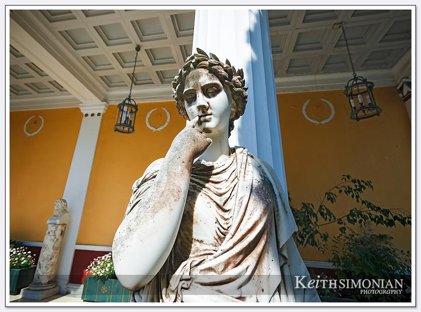 One of the many statues in the back courtyard - Achilleion Palace, Greece.