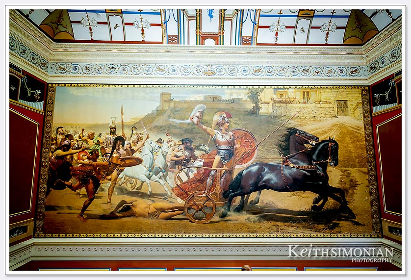 A very large painting hangs above the staircase in the Achilleion Palace, Greece