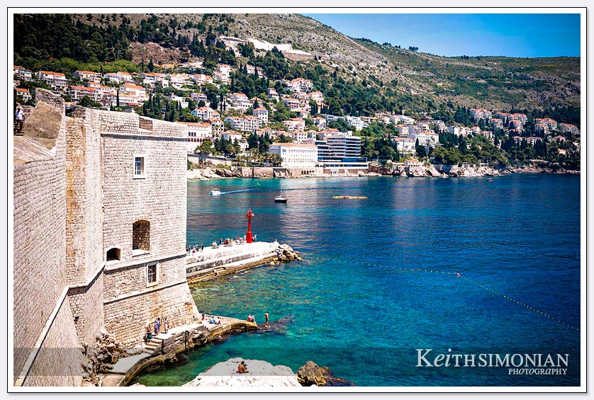 The very blue waters seen from the wall in Dubrovnik Croatia.