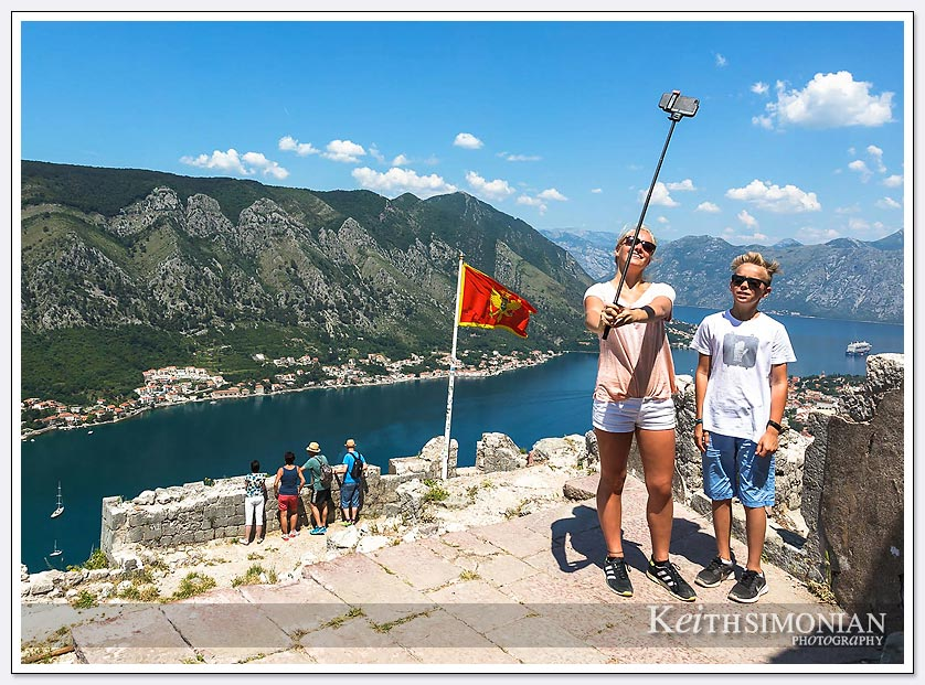 Once you reach the top of the hill and arrive at the castle it is selfie time - Kotor,Montenegro