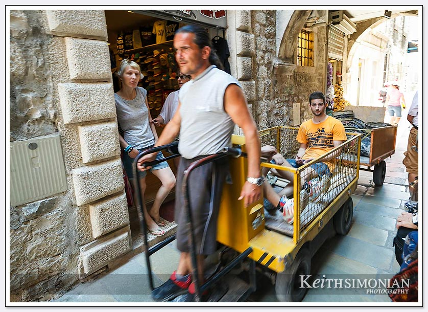 The only way for the merchandise to reach the stores is with narrow carts for the narrow walkways - Split, Croatia