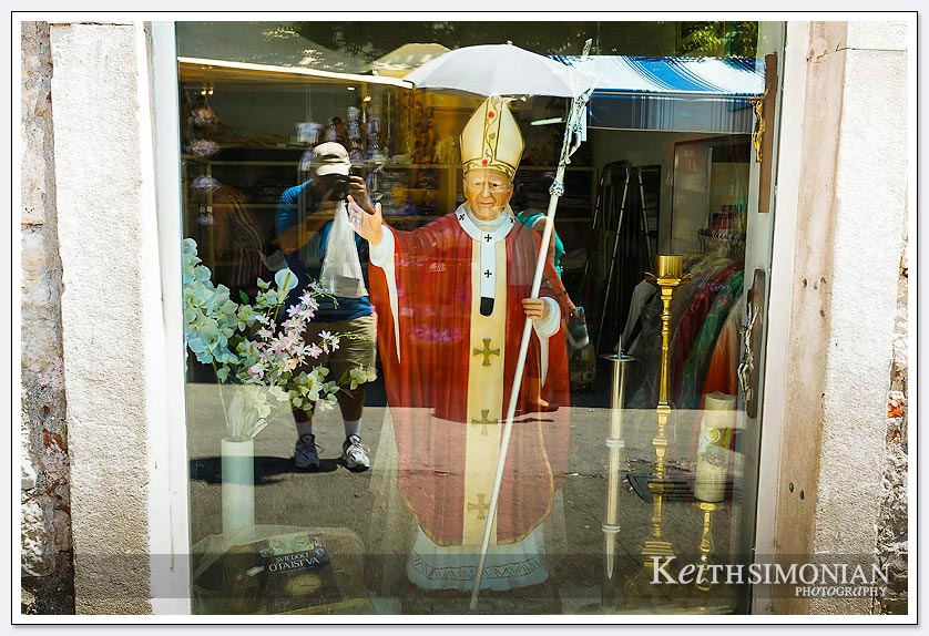 The Pope was in town, or at least this shop window - Split, Croatia