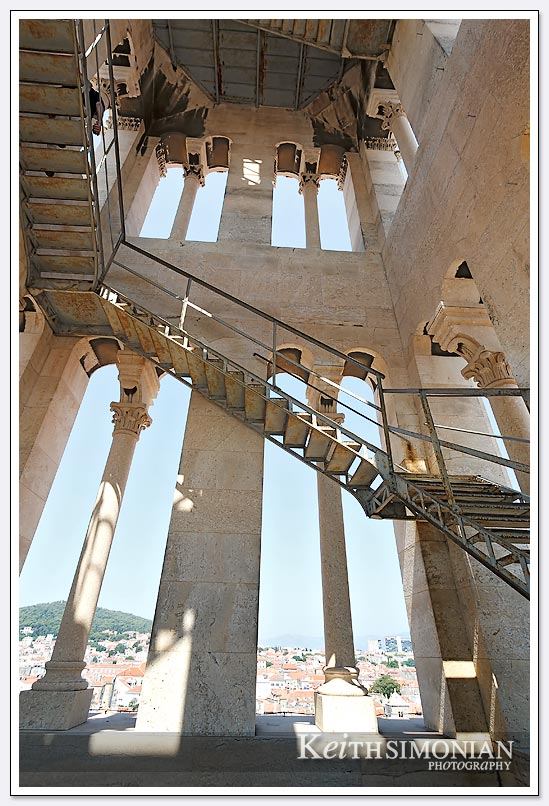 Wide angle view looking up inside the bell tower - Split, croatia