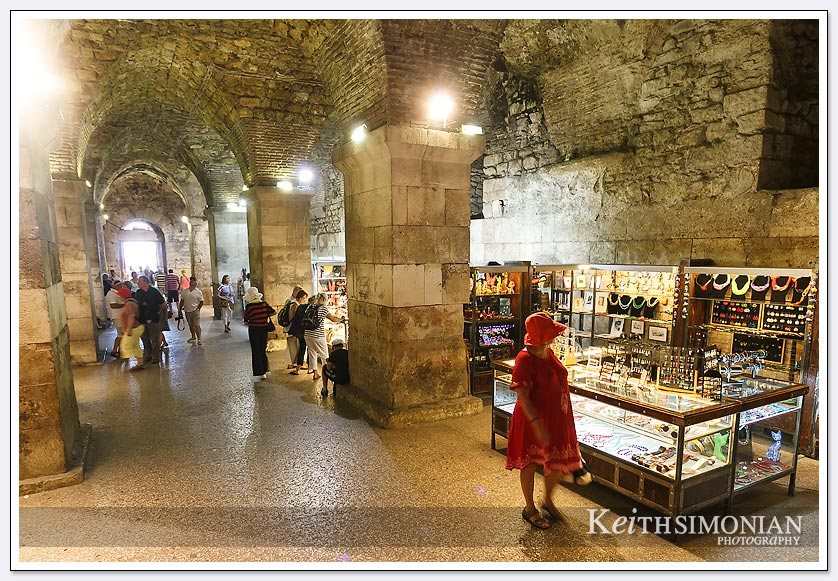Underground shopping for the tourist in Split, Croatia