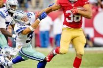 Jarryd Hayne runs back a punt against the Dallas Cowboys during a 2015 NFL pre-season game.