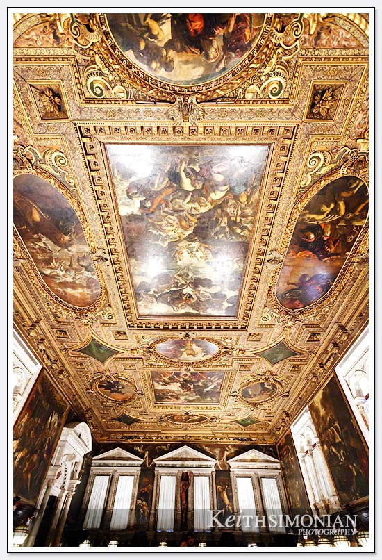 No space goes un-painted as the ceiling in this church is decorated - Venice, Italy.