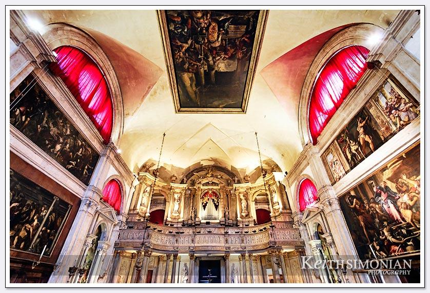 Amazing interior of Chiesa di San Rocco - Venice Italy