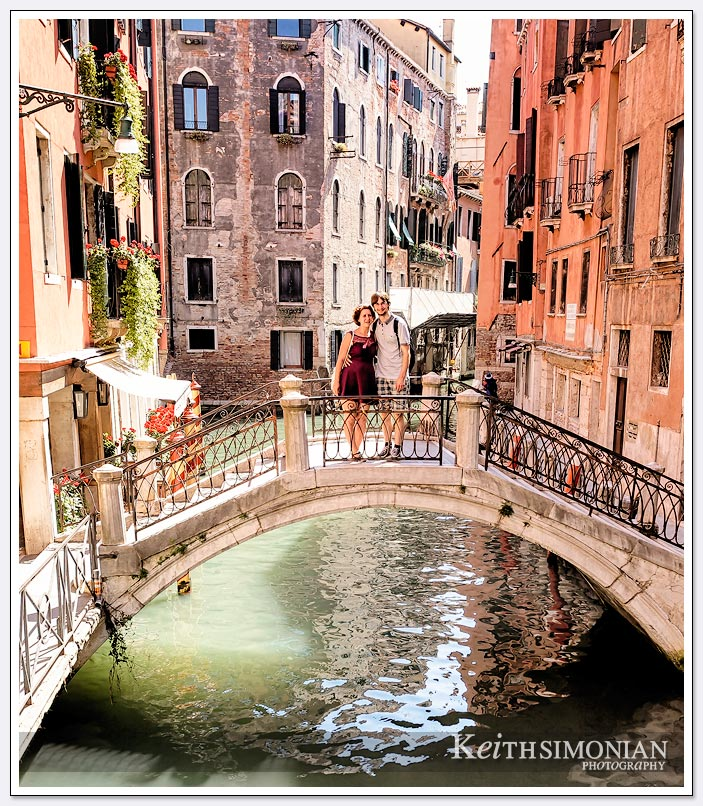 Romantic location on one of the bridges that connect each island of Venice, Italy.
