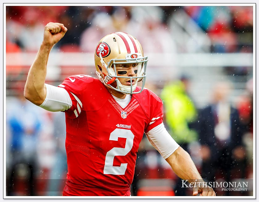 49er Quarterback Blaine Gabbert celebrates his first touchdown pass as a starter in this November 8, 2015 game against the Atlanta Falcons