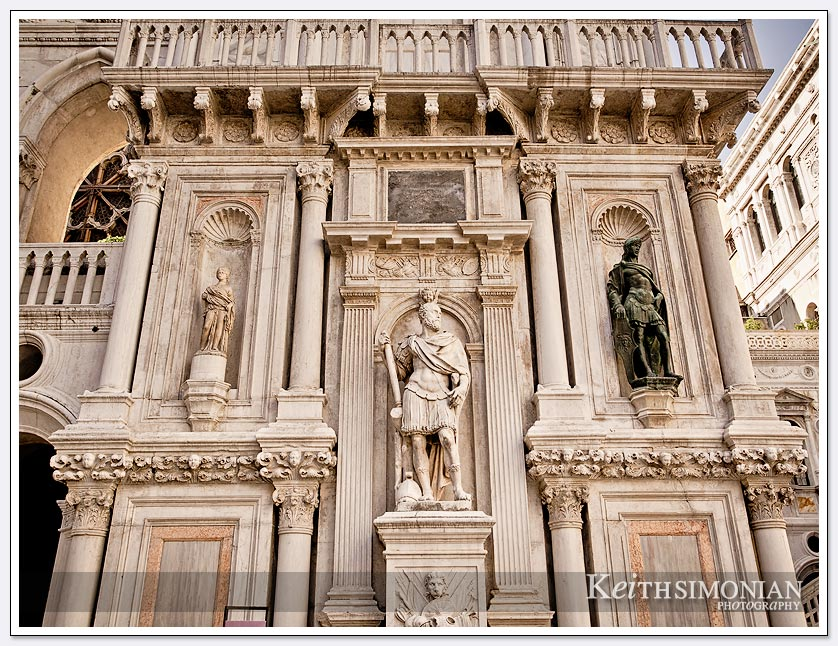 Statues in courtyard of Doge's Palace - Venice Italy