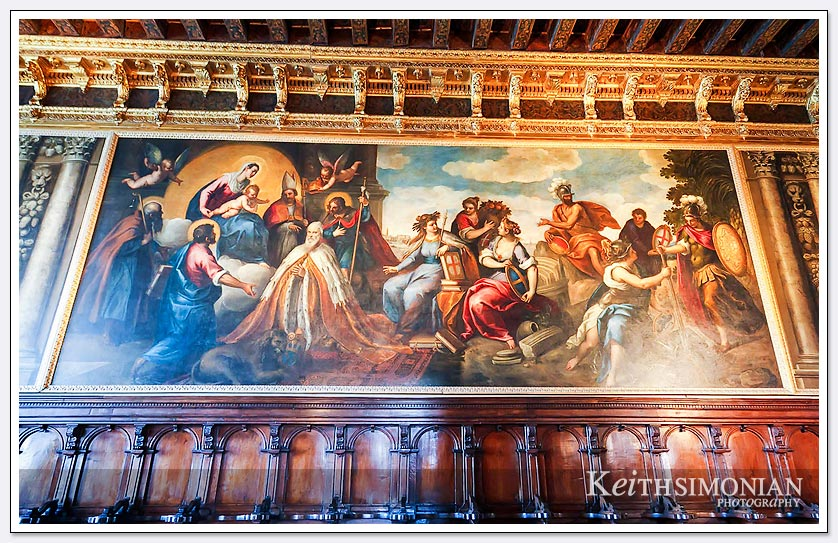 Large painting on the wall in Doge's palace - Venice Italy