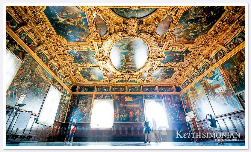 View of gold and paintings on the ceiling of the council chamber in Doge's palace - Venice Italy