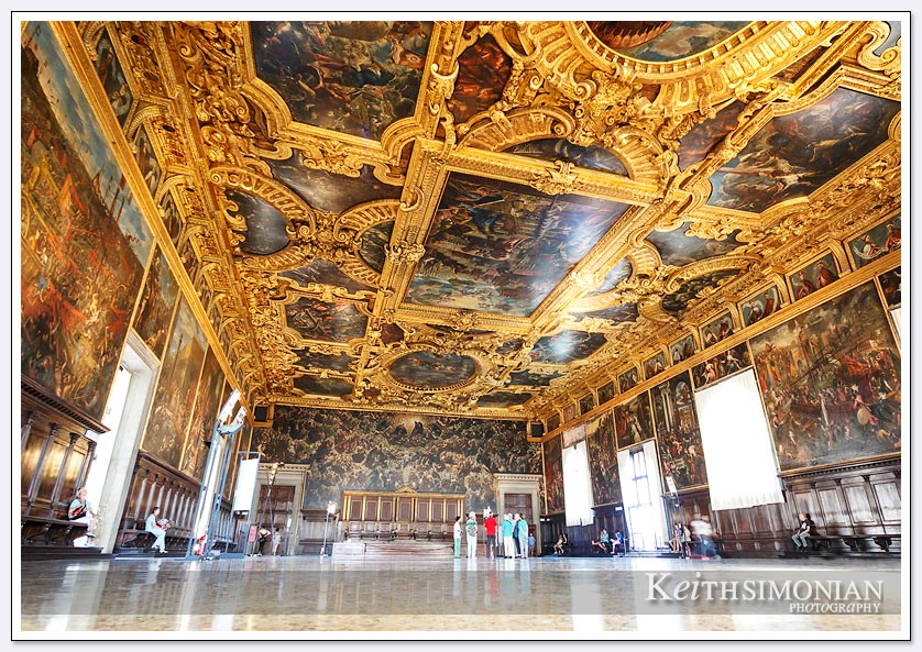 Wide angle view of the Council chambers in Doge's Palace - Venice Italy