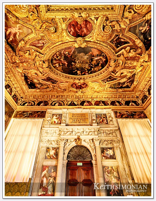 Gold and paintings on the walls and ceilings of Doge's Palace - Venice Italy