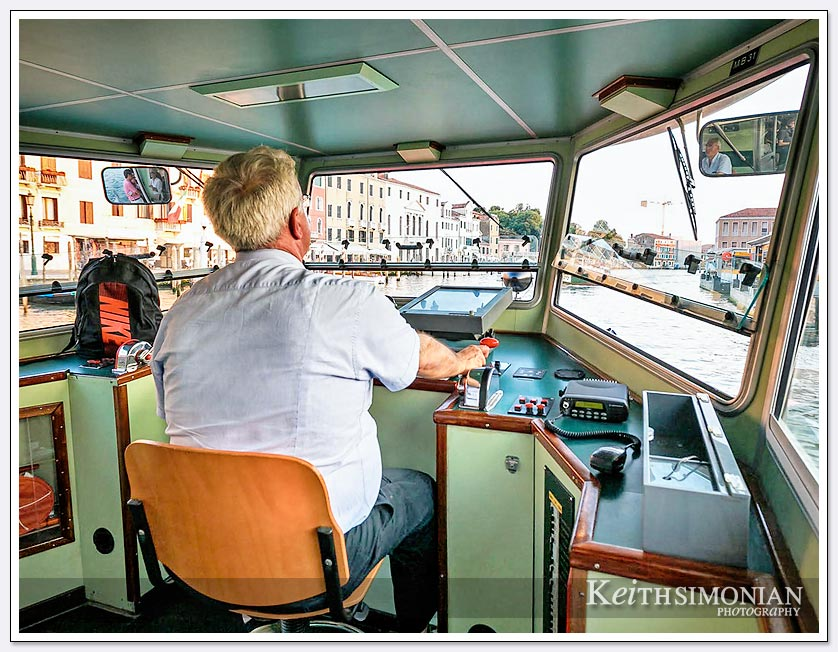 Water bus driver in Venice Italy